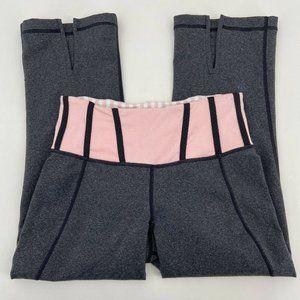Lululemon Gray Pink Tadasana Slit Crop Leggings